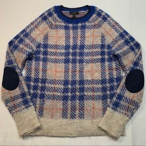 J. Crew Brushed Wool Mohair blend sweater in plaid